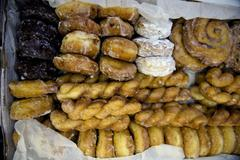 High angle view of donuts and pastries Stock Photos