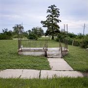 Remaining steps and railing of house after Hurricane Katrina, Ne - stock photo