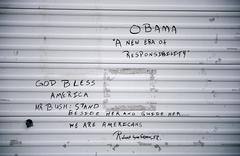 Political graffiti on wall after Hurricane Katrina, New Orleans, Stock Photos