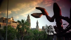 ULTRA HD 4K real time shot,Sculpture La Gamba  in Barcelona, - stock footage