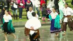 Quechua peasants celebrating Inti Raymi or Festival Of The Sun Stock Footage