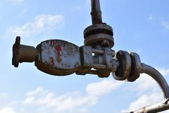 Equipment of an oil well - stock photo
