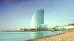 ULTRA HD 4K real time shot,Barceloneta Beach and Hotel Vela in Barcelona, Stock Footage