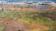 Aerial view of the Okavango Delta in Botswana, Africa - stock footage
