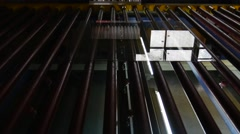 Sheet of Glass is Moving to The Oven, To the Machine, Glass Tempering Machine, - stock footage