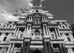 Philadelphia City Hall in Black and White - stock photo