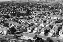 California Suburban Sprawl Black and White - stock photo