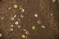Discarded soda caps in ground, Tanzania, Africa Stock Photos