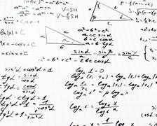 Trigonometry math equations and formulas Stock Photos