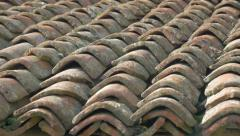 Ancient roofing material made of clay 4K 2160p UHD panning  footage - Roof to Stock Footage