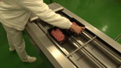 MACHINES packed minced meat in a box Stock Footage