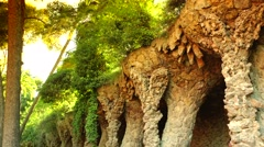 ULTRA HD 4K real time shot,Famous stone columns in Park Guell Stock Footage