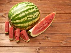 Watermelon with slices composition Stock Photos