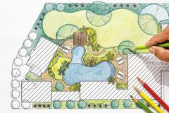 Stock Photo of Landscape architect design backyard plan for villa