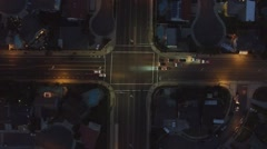 Aerial Night shot intersection cars spinning Stock Footage