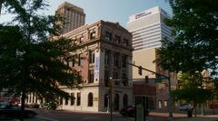 Downtown Memphis, Tenneesee, morning, old and new buildings Stock Footage