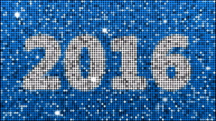 Year 2016 – seamless looping, blue - stock footage
