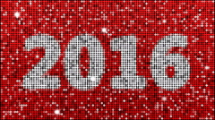 Year 2016 – seamless looping, red - stock footage
