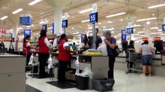 One side of check out counter inside Superstore. Stock Footage