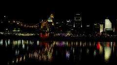 Pan shot of Cincinatti from across Ohio River Stock Footage