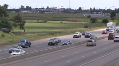 Stock Video Footage of Bumper to bumper traffic jam on highway 400 north of Toronto headed for cottage