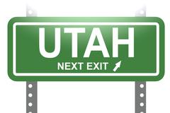 Utah green sign board isolated Stock Illustration