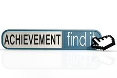 Achievement word on the blue find it banner - stock illustration