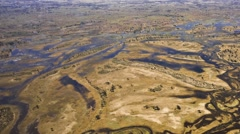 Aerial view of the Okavango Delta in Botswana, Africa - stock footage
