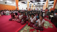 A group of children are in the Buddhist temple. Stock Footage