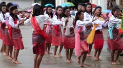 Thai traditional dance show in The Buddhist Lent Day. - stock footage
