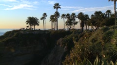 Laguna Beach, California, sunset. Palm trees on the hill. Stock Footage