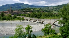 Bobbio in Italy, the town and old bride Stock Footage