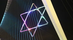 Star of David on Jerusalem Chords Bridge - stock footage