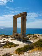 Portara - ruins of ancient temple of Delian Apollo - stock photo