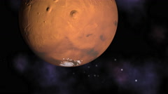 3D animation of planet Mars rotating, with camera tracking in to focus. - stock footage