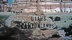 1971: Utah canyonlands old style analog title credit. Stock Footage