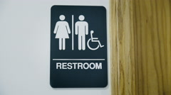 Zoom in on Unisex Public Restroom Sign Stock Footage