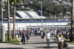 The main entrance at the Sochi autodrom from the train station. Stock Photos