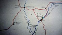 1971: Animated map of route from Grand Junction to Canyonlands Utah. Stock Footage