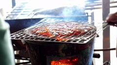 Delicious prawn on the grill fresh alive seafood, BBQ shrimp Stock Footage