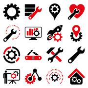 Options and service tools icon set Stock Illustration
