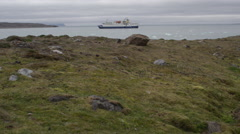 Dolly of Arctic Coastline With Cruise Ship Stock Footage