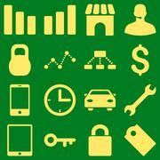 Basic business icons - stock illustration