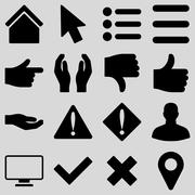 Basic gesture and sign icons - stock illustration