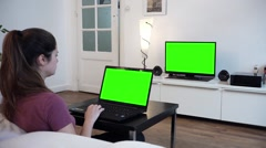 Home with Computer and Television Green Screened - Full HD Stock Footage