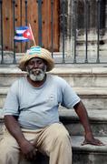 Cuban posing for photo, Havana - stock photo
