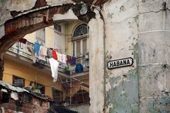 Havana, street sign Habana - stock photo