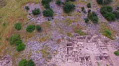 4K Aerial of Ancient Synagogue Remains on Mount Arbel near Sea of Galilee Stock Footage