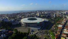 Aerial View of Fonte Nova Stadium and Salvador Cityscape, Bahia, Brazil Stock Footage