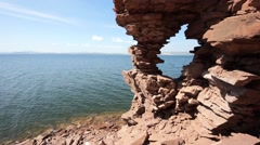 Krasnoyarsk reservoir Yenisei 19 Rocky cliff with arch Stock Footage